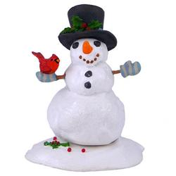 Smilling Snowman with top hat and red cardinal on one hand