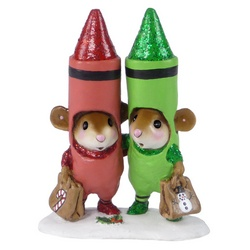 Mice dressed and Christmas crayons