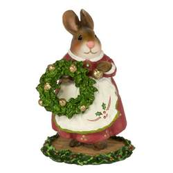 Mom bunny in Christmas outfit holding Christmas wreath