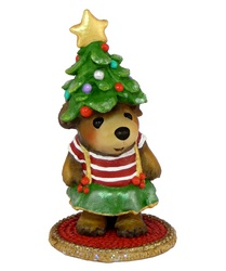 Young girl bear with Christmas tree hat
