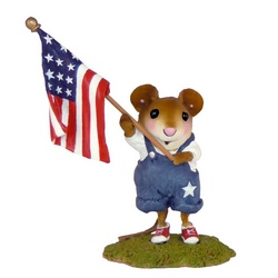 Boy mouse waving USA flag