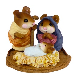 Mice as Mary Joseph their a baby in the manger