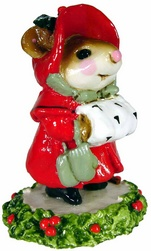 Lady mouse in overcoat and matching hat with hand ia a muff