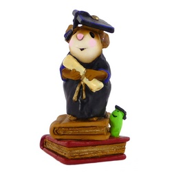 Graduate mouse standing on two books holding a scroll with a bookworm looking on