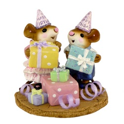 Girl and Boy mouse with party hats and presents