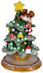 Child mouse climbing Christmas tree