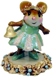 Girl mouse in party drees holding a bell