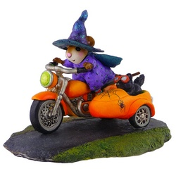Mouse in whitch costume ride pumpkin colored bike and side car with cat