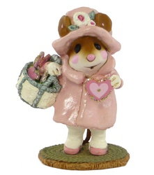 Lady Mouse in 30's style hat and coat hold basket of  hearts