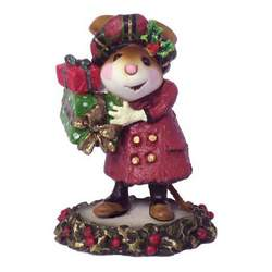 Lady mouse with hat and overcoat carring Christmas presents