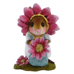 Young child mouse with pink flower amd pink petal head dress
