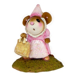 Mouse dressed as medieval princess in pink with golden bag