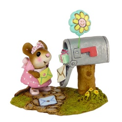 Girl mouse opens mailbox, presents and card falling out