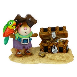 Pirate mouse with parrot and treasure chest