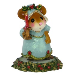 Lady mouse in light blue evening dress holding candle