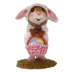 Mouse in lamb costume with Easter backet
