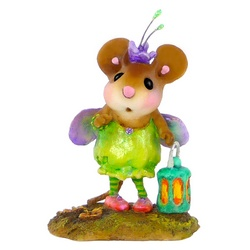 Mouse dressed in a green bug costume with wings and a lamp