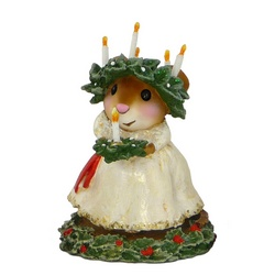 Mouse in white dress holly and candles in her hair and in her hands