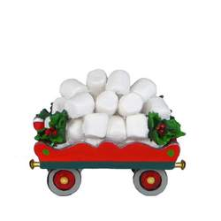 Red flat train car filled with marshmallows, holly decoration