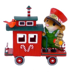Red caboose mouse on rear platform with lamp