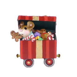 Train box car with top lifted showing a mouse and Chistmas candy