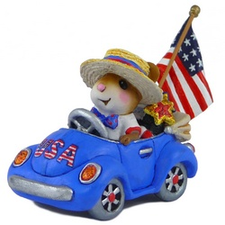 Male mouse drive open car with patriotic decorations