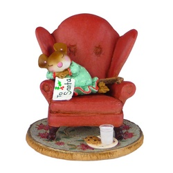 Girl mouse sleeping in large armchair with letter to Santa