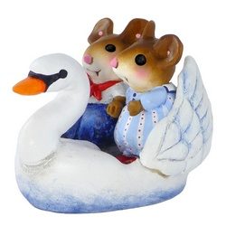 Young lover mice riding in a swan boat
