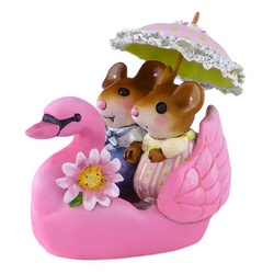 Two mouse lovers holding, a parasol ride, in a pink sawn boat