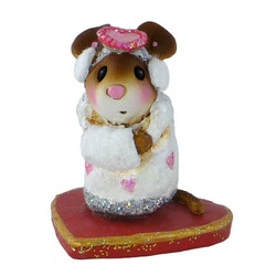 Girl mouse stands with Valentine hat, ear and hand muffs