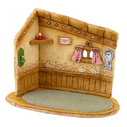 Back drop for mouse's house includes window, candles and decoration