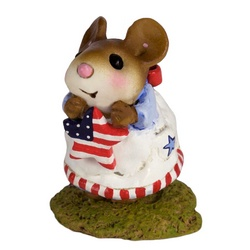Little girl mouse, holding a star flag with RWB party dress
