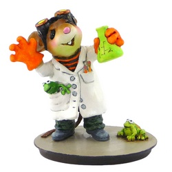 Mad mouse scientist with two frogs and flask