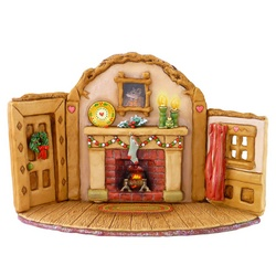 Fireplace with door and window sides with Xmas decoratons