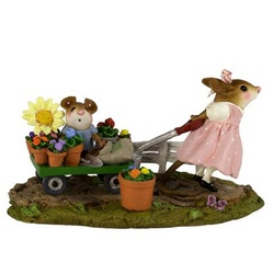 Flower cart with small boy mouse pulled by older girl mouse