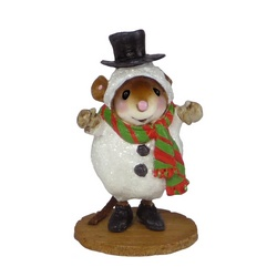 Mouse in snowman costume with scarf and top hat