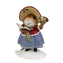 Mother mouse carroler with bell singing in the snow