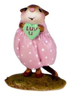 Girl mouse in pink dress holding a green heart with LUV U on it