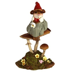Girl gnome mouse perched on mushroom