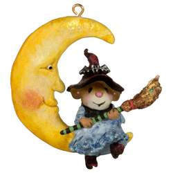 This little witch is hanging out on the moon - ornament