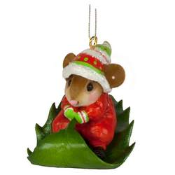 Little mouse sledding on a holly leave