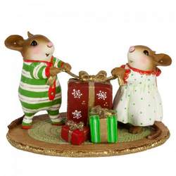 Excited boy and girl mouse open Christmas gift