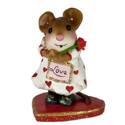 Girl mouse in hearts dress holding