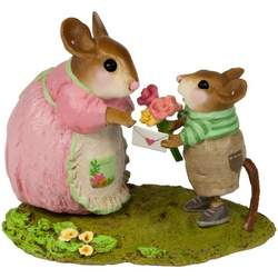Boy mouse giving Mom flowers and a handmade card