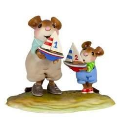 Father and son mouse carrying thier model boats to the water
