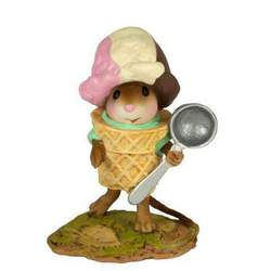 Young mouse dress as an ice-cream cone carrying an ice-cream scoop