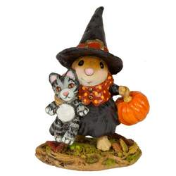 A little witch has a mission to accomplish with her little pumpkin. Good thing she has her kitty in tow!