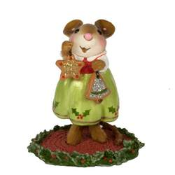Girl mouse with hand made Christmas decorations