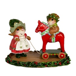 These fancy little Mouse elves are playing with a Swedish Dala horse!.