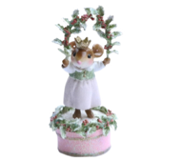 Girl mouse stand on hat box in the snow holding holy leaves.